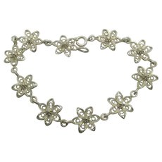 Daisy Chain Flower Sterling Silver Filigree Bracelet Vintage Art Deco c1920