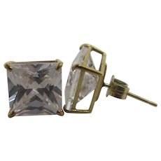 Diamond Paste 9k Gold Stud Earrings Vintage c1980