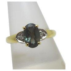 Green Topaz in 9k Gold Ring Vintage English