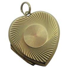 Heart Double Locket 9k Gold Back Front Pendant Vintage Art Deco c1920