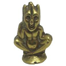 Cornish Pixie or Imp Brass Fob Seal Vintage Art Deco c1920
