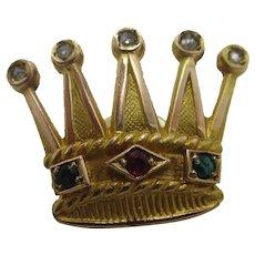 Diamond Crown 9k Gold Cap Lapel Badge Antique Victorian c1890