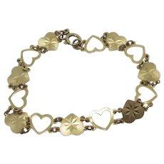 Heart Chain Link Bracelet 9k Gold Vintage English 1969