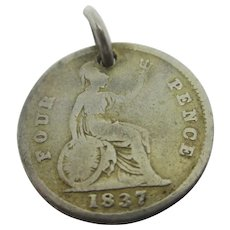 William IV Four Pence Coin Sterling Silver Pendant Charm Antique Georgian 1837