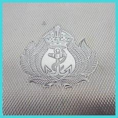 Royal Navy Badge Engine Turned English Cigarette Case Sterling Silver Vintage Art Deco 1939