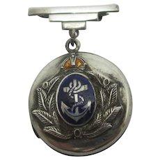 Royal Navy Sweetheart Enamel on Sterling Silver Locket Brooch Pin Antique Edwardian c1910