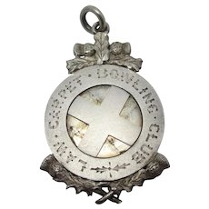 Scottish Thistle Detail Cross Bowling Watch Fob Pendant Sterling Silver Antique Victorian 1888