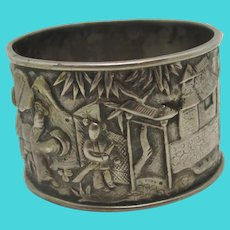 Chinese 900 Grade Silver Napkin Ring Antique Victorian c1890