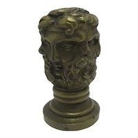 Multi Face Intaglio Bronze Desk Seal Antique Victorian c1840
