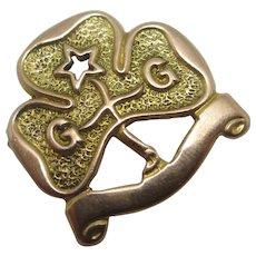 Girl Guide 9k Gold Brooch Pin Badge Vintage Art Deco 1924