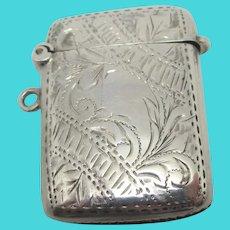 English Sterling Silver Vesta Match Case Antique Edwardian 1910