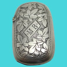 Ivy Leaf English Sterling Silver Vesta Case Match Holder Antique Victorian 1898 by James Fenton