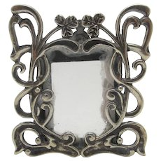 Lucky Shamrock Sterling Silver Picture Photo Frame Vintage