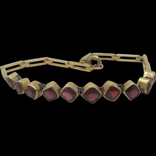 Garnet in 14k Gold Bracelet Vintage Art Deco c1920