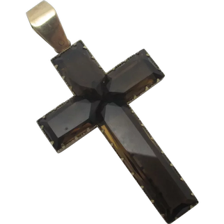 Real Citrine in 14k Gold Cross Pendant Vintage Art Deco c1920