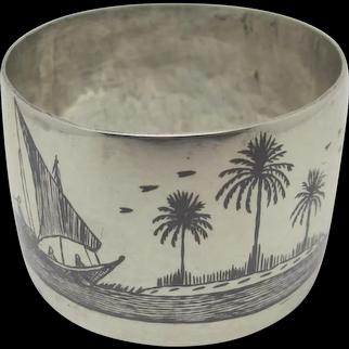Niello Sterling Silver Napkin Ring Vintage c1950