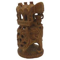Carved Sandalwood Apprentice Sample Elephant Antique Victorian c1890