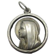 Madonna Religious Sterling Silver Pendant Charm Vintage c1970