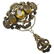 Citrine in 15k Gold Dangling Brooch Pin Antique Victorian c1840
