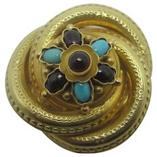 Turquoise & Cabochon Garnet in 14k Gold Brooch Pin Vintage Victorian Style