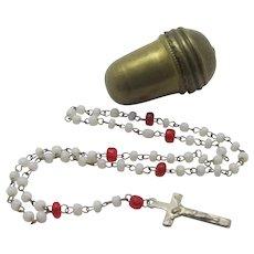 Religious Rosary in Gilt Metal Acorn Holder Case Antique Edwardian c1910