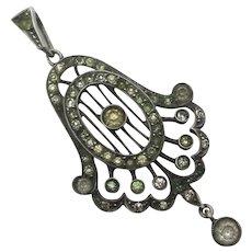 Diamond Paste in 900 Silver Dangling Pendant Lavalier Antique Victorian c1890