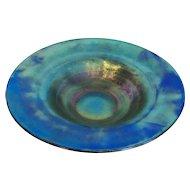 Blue Tiffany favrile bowl with pedestal base