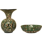 2 Pieces Jean Gerbino Vallauris mosaic pottery.