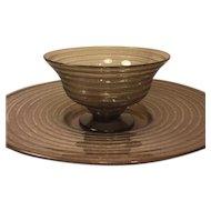 Daum Nancy Deco Acid Etched Bowl with Platter