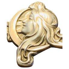 Unger Sterling Silver Art Nouveau pin Woman's Figure