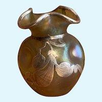 Gold iridescent silver overlay vase, probably Loetz