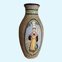 Large Amphora Vase with 2 portraits of Maidens in Traditional Dress