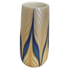 Durand vase, iridescent pulled feather decoration