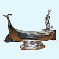 Kayser Deco silver plate wine cooler,Viking  ship w. maiden