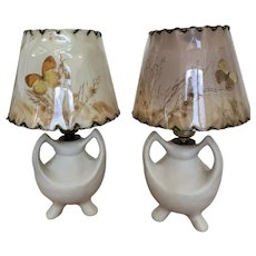 Pair Van Briggle Tripod Lamps Moonglow with original shades