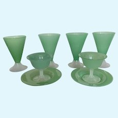 4 Steuben Jade and Alabaster Drinking glasses with 2 Sherberts with Underplates