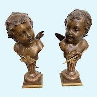 Pair Carl Kauba Cherub sculptures