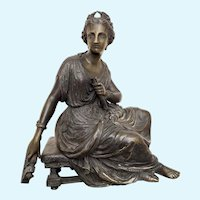 Duchioselle Bronze sculpture  of maiden with lyre