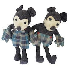 """1930s Mickey Mouse and Minnie Mouse Cloth Pattern Dolls 18"""""""
