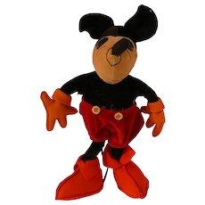 "1930 Vintage Mickey Mouse Velvet and Felt Doll 10"""