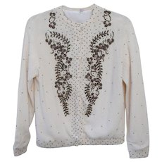 1950s Ivory Wool Bronze Beaded Sweater