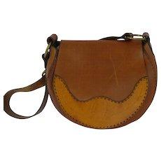 1970s Vintage Tooled  Leather Saddle Bag