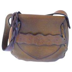 Vintage 1970s Brown Leather Saddle Bag