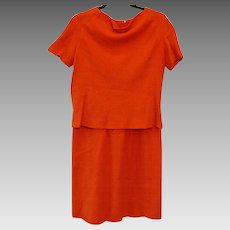 Vintage 1950s B.H. Wragge Orange Virgin Wool Two Piece Dress