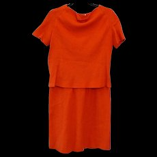 Vintage 1950s B.H. Wragge Orange Virgin Wool Two Piece Dress