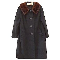 Vintage 1950s Black Cashmere Blend Mink Collar Coat