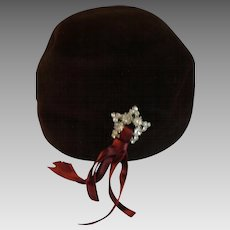1940s Evelyn Vernon Made in Italy Brown Suede Silk Hat
