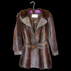 1970 Vintage Brown Leather and Brown Mink Coat
