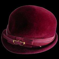 1940s Finley Velvet  Burgundy Hat with Leather Trim
