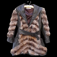 Vintage 1970s Aurora Natural Brown Chinchilla and Leather Jacket